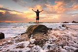 Praise God, Love Nature, Sunrise turbulent seas