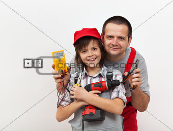 Boy and his father ready for some electricity work