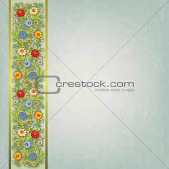 abstract floral ornament on gray background