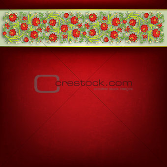 abstract floral ornament on red background