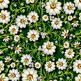 abstract seamless floral ornament with flowers on green backgrou