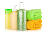 Cosmetics bottles with towels