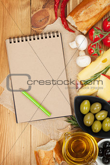 Blank notepad  and food
