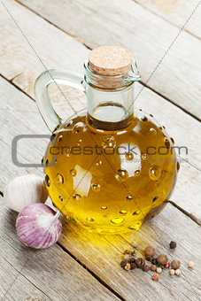 Olive oil bottle with spices