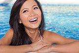 Chinese Asian Woman Girl in Spa Swimming Pool