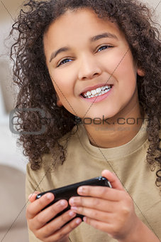 African American Girl Child Using Smat Phone