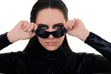 Woman with Sunglasses in Black Leather Suit