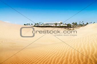 Sand dunes on the beach in Maspalomas.
