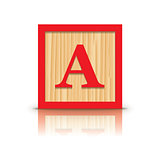 Vector letter A wooden alphabet block
