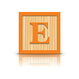 Vector letter E wooden alphabet block