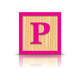 Vector letter P wooden alphabet block