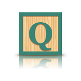 Vector letter Q wooden alphabet block