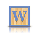 Vector letter W wooden alphabet block