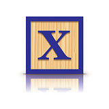 Vector letter X wooden alphabet block