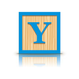 Vector letter Y wooden alphabet block