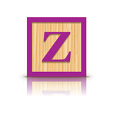 Vector letter Z wooden alphabet block