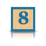 Vector number 8 wooden alphabet block