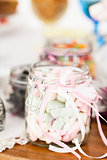 Pastel colored marshmallows in jar