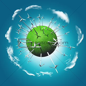 3D render of a grassy globe with wind turbines