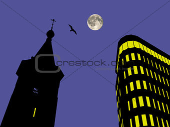 Church and business center at the night background