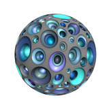 3d bubble ball in multiple blue purple on white