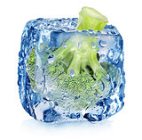 Broccoli in ice cube