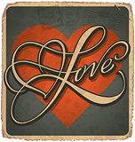 VALENTINE hand lettered vintage card (vector)