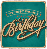 BIRTHDAY hand lettered vintage card (vector)