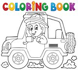 Coloring book car traveller theme 1
