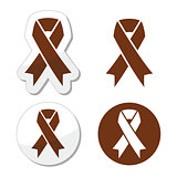 Brown ribbon anti-tobacco symbol, awereness of colon cancer, colorectal cancer