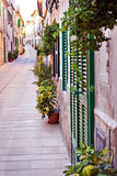 Narrow street in the old Mediterranean town