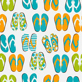 Beach Seamless Retro Grunge Background with Flip Flops