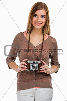 Beautiful woman with a old photography camera