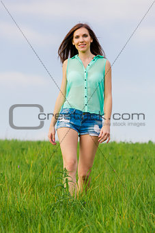 Beautiful girl walking