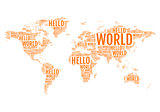 typographic hello world map, vector