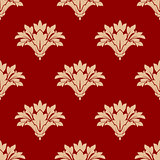 Red and beige floral seamless patern