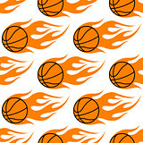 Flaming basketballs seamless pattern