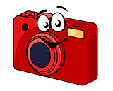 Colorful red point and shoot camera