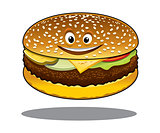 Cartoon cheeseburger with a happy smile