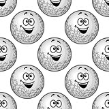 Seamless background pattern of cartoon golf balls