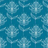 Seamless pattern with paisley floral motifs