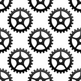 Seamless pattern of industrial gears or cog wheels