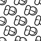 Seamless pattern of tablets and capsules