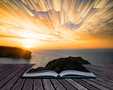 Book concept Unique abstract time lapse stack sunrise landscape