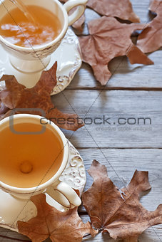 Autumn tea background