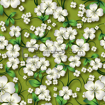 abstract seamless floral background with ornament on beige