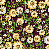 abstract seamless floral ornament with flowers on brown backgrou