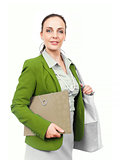 business woman with handbag and folder