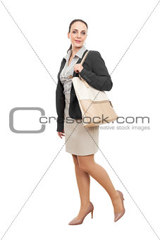 business woman with a beige handbag