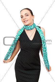 woman with turquoise scarf